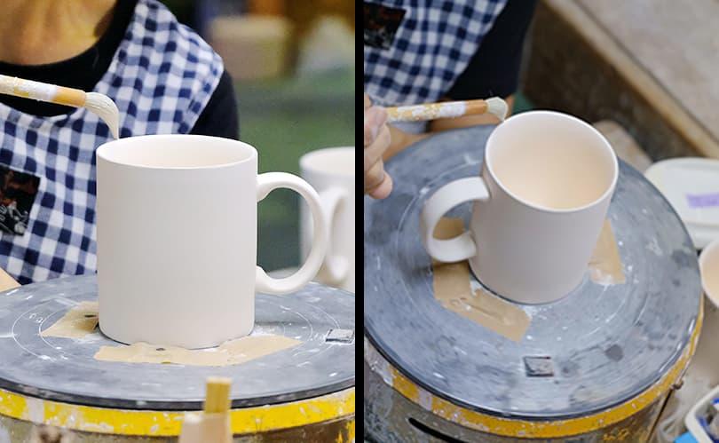 オリジナルマグカップ成型工程、加工