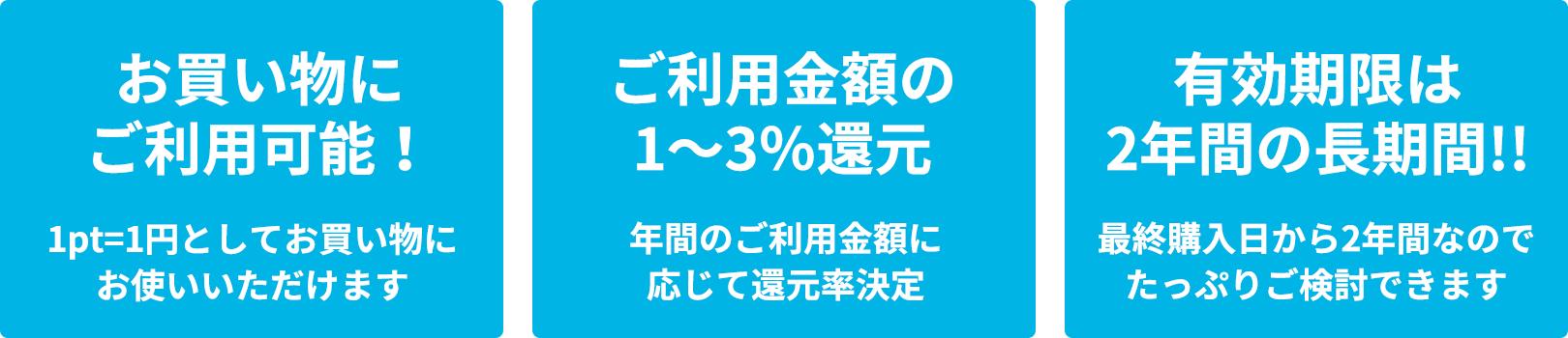 お買い物にご利用可能!:1pt=1円としてお買い物にお使いいただけます|ご利用金額の1~3%還元:年間のご利用金額に応じて還元率決定|有効期限は2年間の長期間!!:最終購入日から2年間なのでたっぷりご検討できます